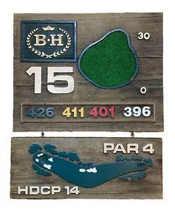 Vint BEVERLY HILLS CC GOLF COURSE SIGN- Hole 15 Par 4 - SOLID WOOD ManCave- GIFT