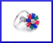 New Multicolor Gemstone 925 Silver Cluster Ring Sz 5.5 FREE SHIPPING  #181