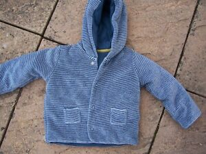 From Marks And Spencer Boys Blue Striped Hooded Jacket Size 9-12 Months