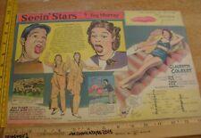 Joe E Brown Claudette Colbert Seein' Stars Feg Murray Sunday 40s color panel 6j