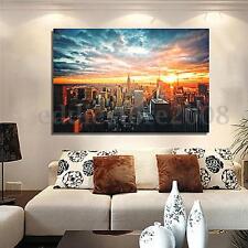 New York City Night Cityscape Silk Cloth Poster Home Wall Art Decoration 36x24''