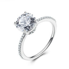 Sterling Silver Round 8mm White Topaz Natural Diamonds Luxurious Ring Wedding