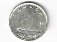 CANADA 1951 TEN CENTS DIME KING GEORGE VI .800 SILVER COIN CANADIAN