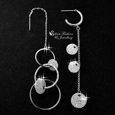 18K White Gold Plated Simulated Diamond Stylish Shiny Circle Asymmetric Earrings