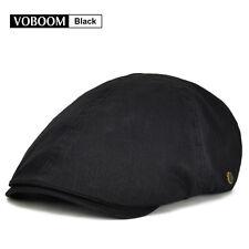 Mens Solid Cotton Black Gatsby Cap Ivy Hat Beret Driving Flat Cabbie Newsboy Cap