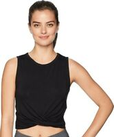 Alo 249844 Women's Cover Twist Front Cropped Tank Top Black Size XS