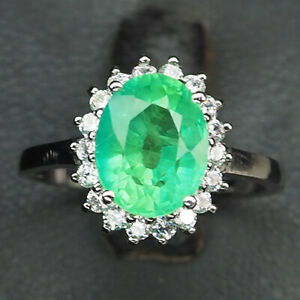 Emerald Green Oval 4.40 Ct. Sapp 925 Sterling Silver Ring Size 7 Jewelry Gift