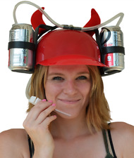 Beer & Soda Guzzler Helmet & Drinking Hat, Red With Devil Horns - Party Hat NEW!