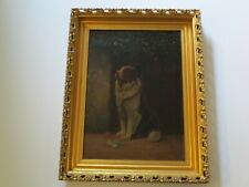 ANTIQUE 19TH CENTURY OLD LARGE BREED DOG PAINTING PORTRAIT FRIEND TILL THE END