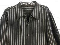 BEVERLY HILLS POLO CLUB Men's Size 4XLB Black Stripe Shirt LS Button Up Dress