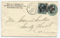 1870s Bridgeport CT fancy cancel reverse N on double rate cover [4248]