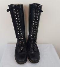 Vintage Original Dr Martens Black Long Boots SZ 8 AUS Womens 18 Ups Punk Goth