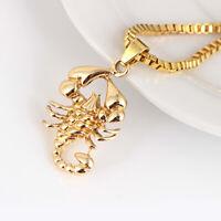 Ice City Mens Scorpion Pendant Necklace Long Chain 66cm Gold