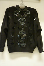Vtg Bonny & Bill by Holly Black Sweater w Sequins and Velvet Leaf Patches, Sz S