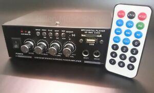 Mini Receiver:Verstärker+Radio Fernbedienung Mikrofonanschluß Bluetooth 230V+12V
