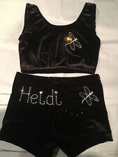PERSONALISED/ PLAIN Black Gymnastics Dance shorts/ Crop Top All sizes dragonfly