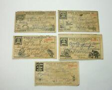 d Lot of 5 Vtg Nebraska Fishing & Hunting Licenses 1920 1921 1924 1925 1926