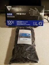 Westchester Protective Gear Black Nitrile Work Gloves (10) Pair Sealed Pack Lg.