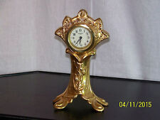 "Antique New Haven Art Nouveau Gold Gilt Mantle Clock ""Works"""