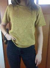 Vintage Liz Claiborne Gold Metallic Knit Slouchy Shimmer Top Sweater Blouse Sz S