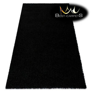 "Amazing Modern Rug shaggy ""SOFFI"" 5cm, soft, single-colour, BLACK High Quality"