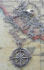 STEAMPUNK VICTORIAN Compass Rose NAUTICAL COSPLAY PENDANT NECKLACE SILVER CHAIN