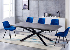 grey extending dining table set  with 6 blue chairs