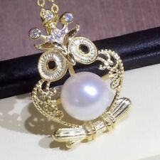 Round White Akoya Pearl Pendant Silver Plated Gold 8MM AAAA