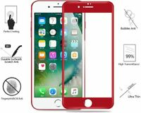 for iPhone SE 2020 8 / 7 Clear Full Coverage Screen Protector Tempered Glass Red