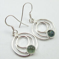 Fashion GIFT For Girls, 925 Sterling Silver Real APATITE Spiral Earrings 1.4""