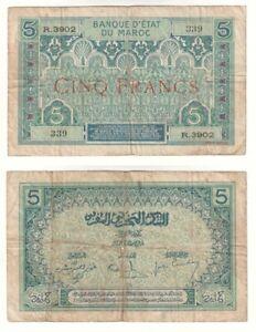 MOROCCO 5 Francs Banknote (1924) P.9 - VG .