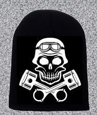 Skull and Pistons Beanie Hat Biker Cadeau