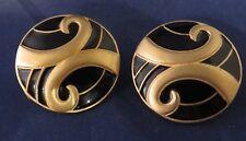 Vintage GJD Ginnie Johansen Gold Tone Black Enamel Clip On Earrings