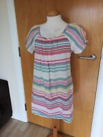 Ladies JOULES Dress Size 10 Candy Stripe Tunic Cream Pink Smart Casual