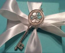 TIFFANY & Co. Sterling Silver Diamond Blossom Heart Key Charm Pendant