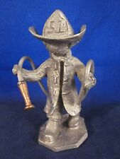 HUDSON PEWTER Walli Ortman #045 Fireman with Copper Fire Hose Nozzle USA