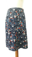 Per Una M&S Size 14 Blue White Floral Cotton Pull On Skirt Knee Length Summer