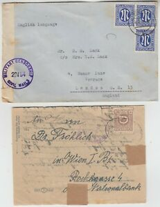 MILITARY 1946/48 2x military censor civil mails covers GERMANY-LONDON & AUSTRIA