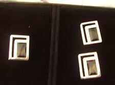 SMOKEY QUARTZ CUFF LINKS AND! TIE TACKS Sterling Silver NOT USED IN ORIGINAL BOX