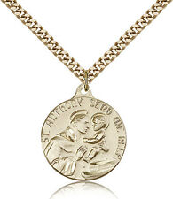 """Saint Anthony Medal For Men - Gold Filled Necklace On 24"""" Chain - 30 Day Mone..."""