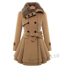 Femmes Double-breasted Wool Blend Ceinture Manteau Robe Fourrure Collier Outwear