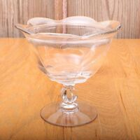 Vintage Clear Glass Flare Top Compote Footed Candy Dish Sundae Ice Cream