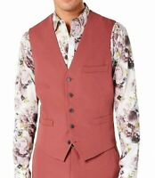 INC Mens Suit Vest Dusty Red Size XL Slim Fit Three-Pocket Stretch $59 #107