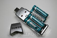 """4 PILES ACCUS RECHARGEABLE AA LR06 1.2V 2000mAh Ni-Mh + CHARGEUR USB """" POWER """""""