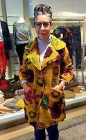 Traumhafter Mantel Blumen curry gelb bunt Luxus Italy Jacke Extravagant Coat