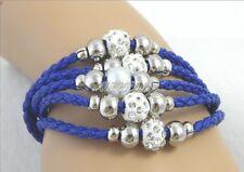 "Multi-Five Strand Dark. Blue Weaved Faux Leather Bracelet Size: 6-1/4 To 7"""