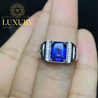 Natural Royal Blue Topaz Gemstone Solid 925 Sterling Silver Rings for Men