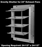 "24"" Gravity Shutter for Exhaust Fan Wall Mount Backdraft Damper Aluminum Blades"