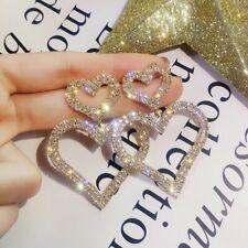 Fashion Two Love Heart Rhinestone Dangle Drop Earrings Elegant Women Jewelry New