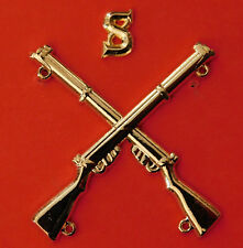 """""""SNIPER BADGE CROSSED LEE ENFIELD .303 RIFLES WITH LETTER """"S""""  GOLD PLATED"""